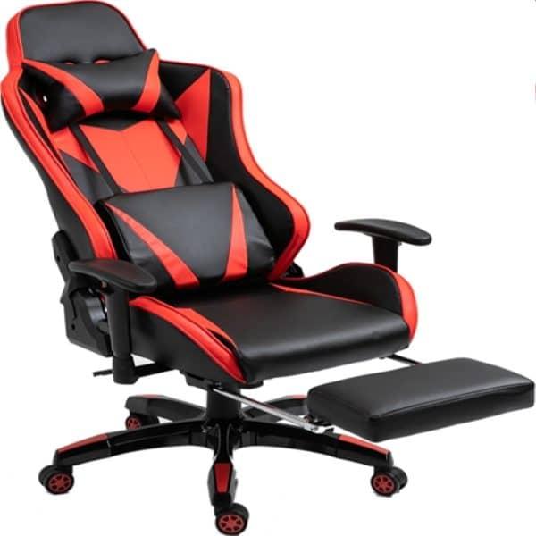 Καρέκλα γραφείου gaming κόκκινη-μαύρη με υποπόδιο